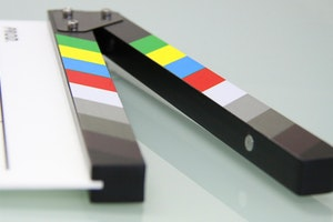 Close up of black and white clapper board