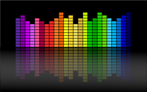 Image of sound equalizer in rainbow colours
