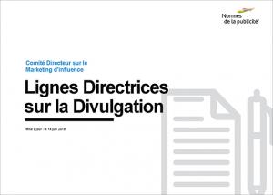 Comité Directeur sur le Marketing d'influence lignes directrices sur la divulgation
