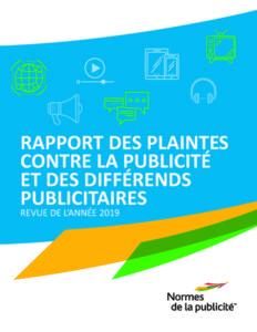 Rapport des plaintes contre la publicité et des differents publicitaires - couverture