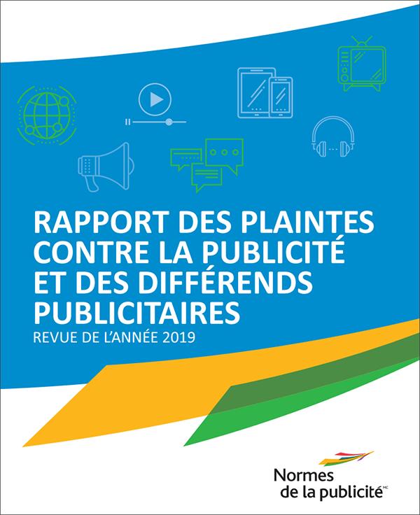 Couverture du Rapport des plaintes contre la publicité et des différends publicitaires 2019