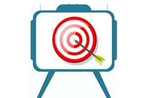 Illustration d'une télévision montrant la bulle et la flèche coincée au milieu