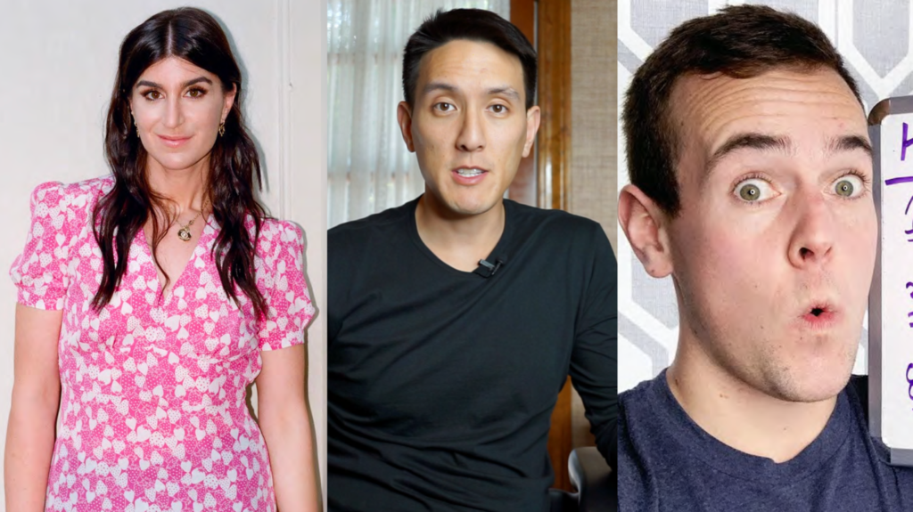 Photos des trois influenceurs : Haley Sacks, Humphrey Yang et Ryan Scribner